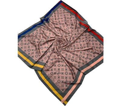 Женский платок шёлковый Louis Vuitton серо-розовый 00011