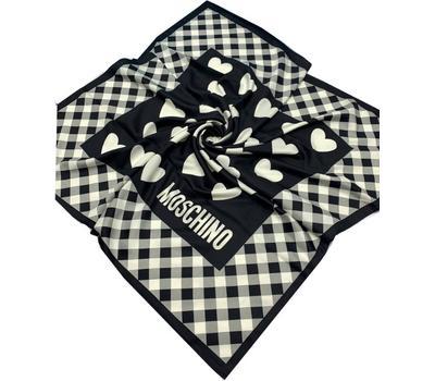Платок шелковый женский Moschino черный с белым 40011
