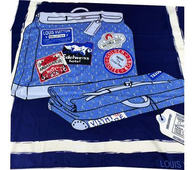 Женский платок шёлковый Louis Vuitton синий 00013
