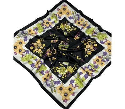 Шелковый платок Dior 50005 черный с желтым