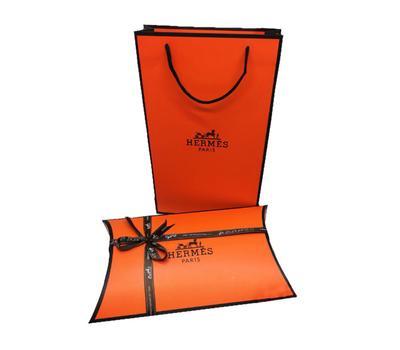 Комплект пакет и подарочная коробка Hermes оранжевый