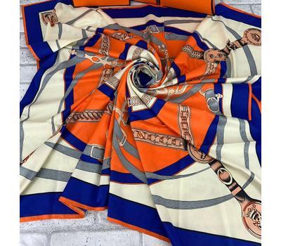 Платок HERMES 5157 синий c оранжевым