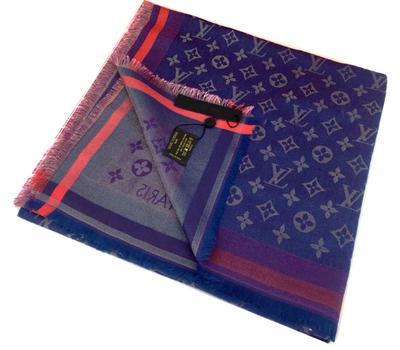Платок Louis Vuitton Monogram синего цвета с серебром 4010
