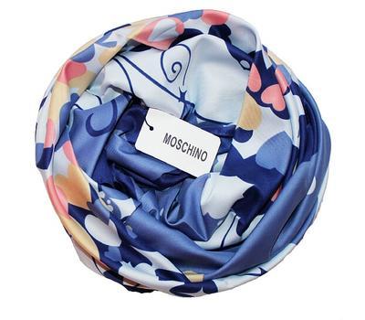 Шелковый платок Moschino голубой 90х90, 4118