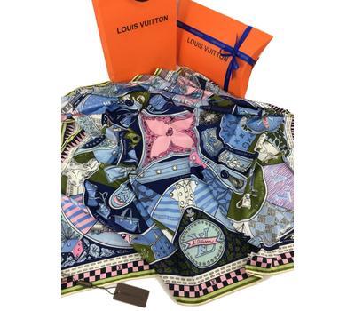 Женский платок шёлковый Louis Vuitton голубой 00004