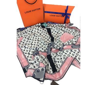 Женский платок шёлковый Louis Vuitton розовый 00006