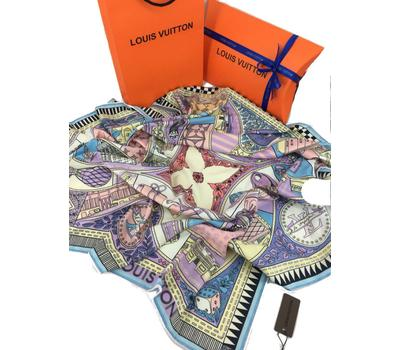 Женский платок шёлковый Louis Vuitton лиловый 00007