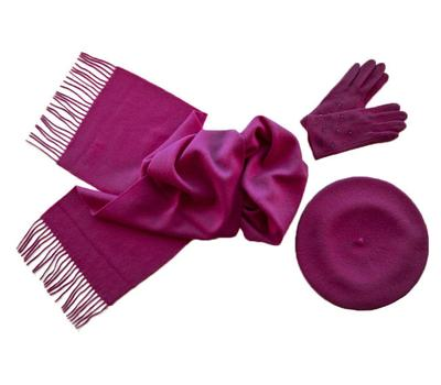 Комплект женский (берет, шарф, перчатки) 00271 фуксия
