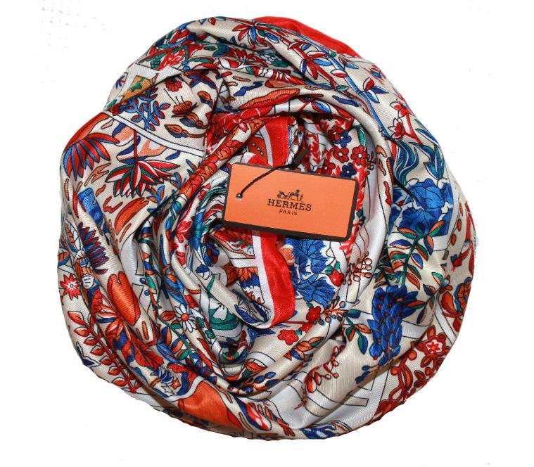 7de0aaeac19a Шелковый платок HERMES белый, 5143 в интернет магазине monbabiole.ru ...