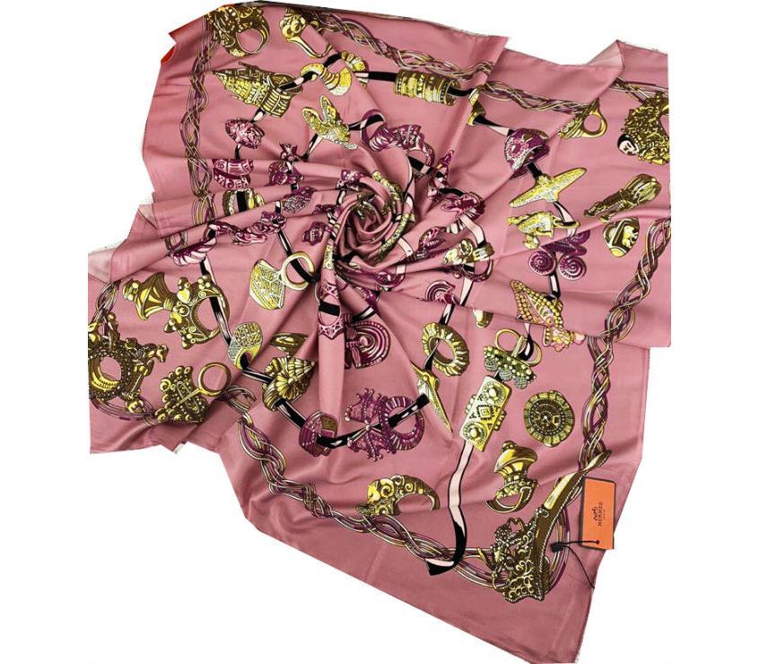 3eb34ab3652f Шелковый платок HERMES розовый 7104 в интернет магазине monbabiole ...